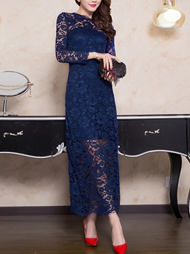 Ericdress Long Sleeve Ankle-Length Lace Dress