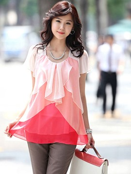 Ericdress Color Block Frill Blouse