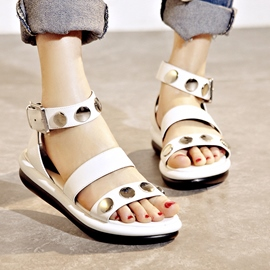 Ericdress Trendy Open Toe Metal Flat Sandals