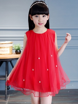 Ericdress Solid Color Pleated Girls Sleeveless Dress