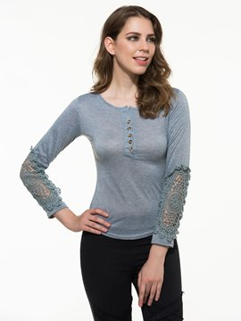Ericdress Lace Button Patchwork T-shirt