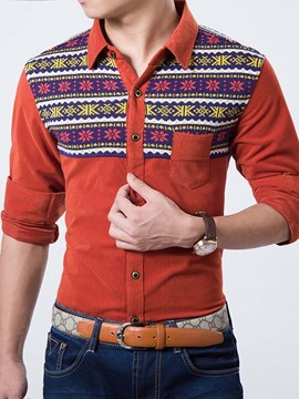 Ericdress Patchwork Corduroy Slim Men's Shirt