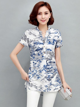 Ericdress Slim Button Printed Blouse
