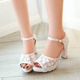 Ericdress Lace Peep Toe Ankle Strap Chunky Sandals