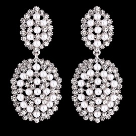 Full Rhinestone Pearl Earrings