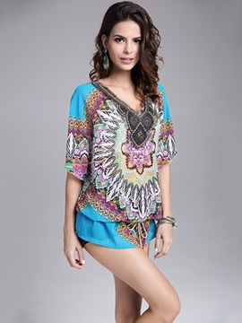 Ericdress Printed Ethnic Beach Blouse
