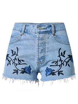 Ericdress Euro-American Embroidery Denim Shorts