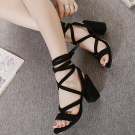 Ericdress Open Toe Lace-Up Suede Cross Strap Chunky Sandals