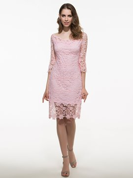 Ericdress Pink Lace Dress