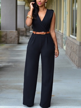 Ericdress Solid Color V-Neck Belt Jumpsuits Pants