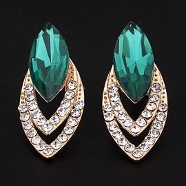 Color Glass Rhinestone Earrings
