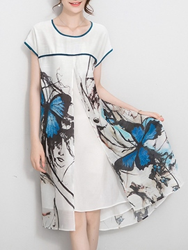 Ericdress Butterfly Print Casual Dress