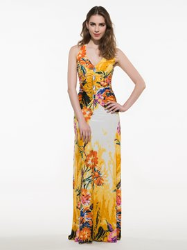 Ericdress V-Neck Sleeveless Floor-Length Maxi Dress