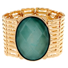 Stripe Oval Gem Metal Hollowed Bracelet