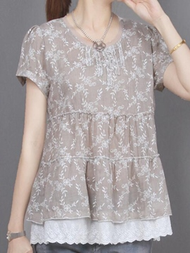 Ericdress Double Layer Hem Short Sleeve Blouse