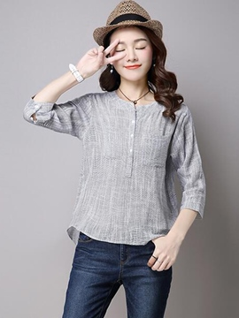 Ericdress Slim Single-Breasted Casual Blouse