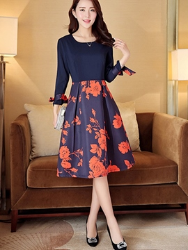 Ericdress Print Patchwork Ladylike Casual Dress