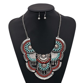 Gem Tassel Geometrical Scales Design Jewelry Set
