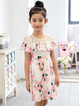 Ericdress Floral Falbala Girls Dress