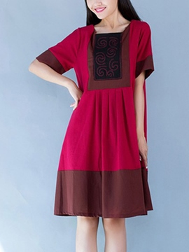 Ericdress Mori Girl Color Block Casual Dress
