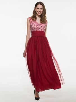 Ericdress Patchwork Open Back Maxi Dress