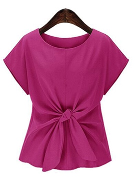 Ericdress Slim Solid Color Pleated T-Shirt
