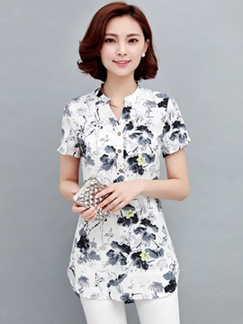 Ericdress Floral Print Short Sleeve Blouse