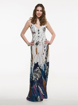 Ericdress Prom V-Neck Print Floor-Length Maxi Dress