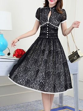 Ericdress Solid Color Vintage Stand Collar Lace Dress