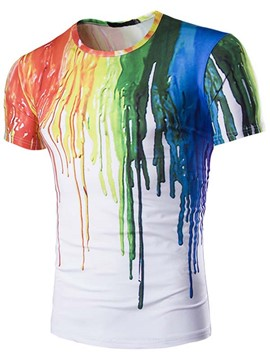 Ericdress Unique 3D Paint Print Short Sleeve Men's T-Shirt