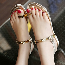 Ericdress Toe Ring Buckle Strappy Flat Sandals
