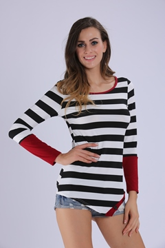 Ericdress Stripe Button Decoration T-shirt