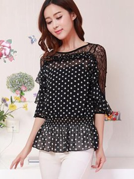 Ericdress Slim Polka Dots Mash Blouse