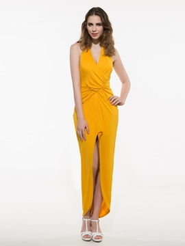 Ericdress Asymmetric Plain Backless Maxi Dress