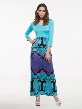 Ericdress Print Patchwork Maxi Dress