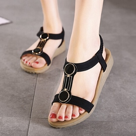 Ericdress Simple T Strap Flat Sandals