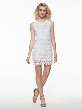Ericdress Soild Color Sleeveness Lace Dress