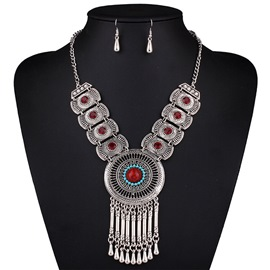 Retro Alloy Tassel Red Stone Jewelry Set