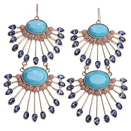 Blue Long Fan Pendant Earrings