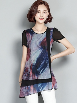 Ericdress Slim Color Block Asymmetric Blouse