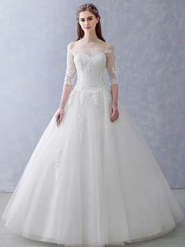 Ericdress Amazing Off The Shoulder Ball Gown Wedding Dress With Sleeves