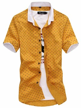 Ericdress Polka Dots Short Sleeve Men's Shirt