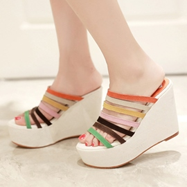 Ericdress Colorful Strap Wedge Mules Shoes