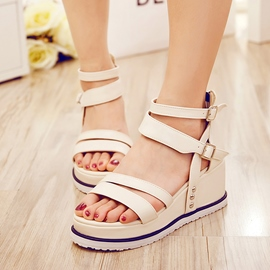 Ericdress Buckles Open Toe Wedge Sandals