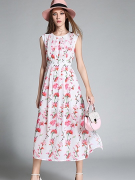 Ericdress Beach Sleeveless Floral Print Maxi Dress