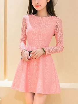 Ericdress Solid Color Lace Patchwork Short Sleeve Casual Dress