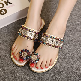 Ericdress Vintage Beaded Toe Ring Mules Shoes