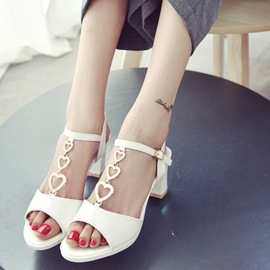 Ericdress Sweet Heart T-Shaped Buckle Chunky Sandals