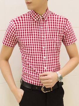 Ericdress Slim Fit Plaid Short Sleeve Men's Shirt