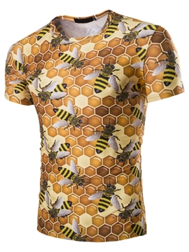 Ericdress 3D Bee Printed Unique Casual Men's T-Shirt